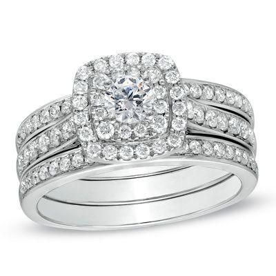 1 CT. T.W. Diamond Double Frame Bridal Set in 10K White Gold