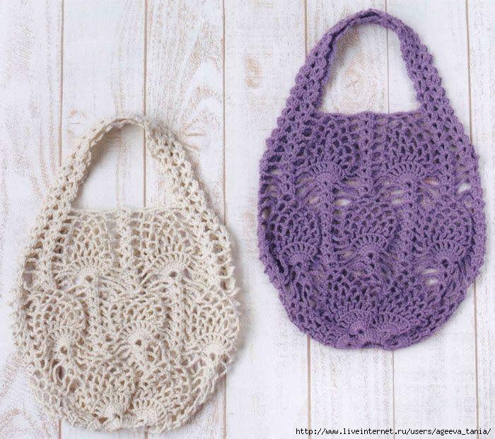 Crochet Knitting Handicraft: handbag with pineapple
