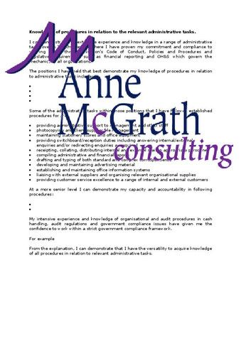 Admin - Knowledge of procedures in relation to the relevant administra – Professional Resumes @ Anne McGrath Consulting