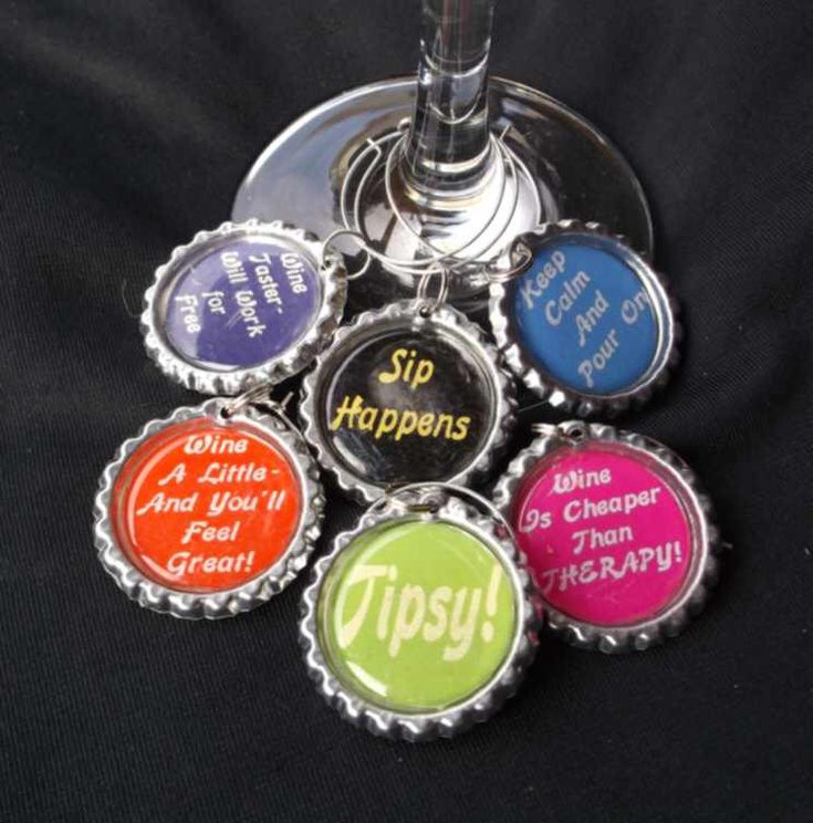 Possible hostess gift funny wine charms, funny drink charms, funny wine sayings…