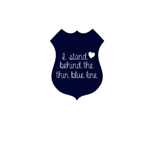 Police badge decal, I stand behind the blue line, Law Enforcement support by MaesGirlyThings on Etsy