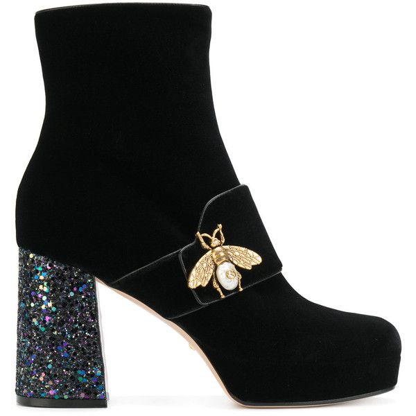 Gucci Bee Glitter Heel Booties (17.233.110 IDR) ❤ liked on Polyvore featuring shoes, boots, ankle booties, black, round toe booties, black booties, high heel booties, black block heel boots and glitter booties