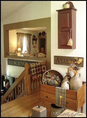 Love The Colors And The Hanging Cupboard. Find This Pin And More On Primitive  Livingroom ...