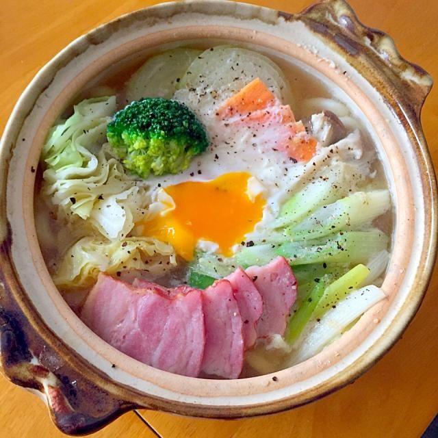 朝ご飯は一昨日のポトフのスープを使って洋風鍋焼きうどんに - 65件のもぐもぐ - 洋風鍋焼きうどん by fighterscurry
