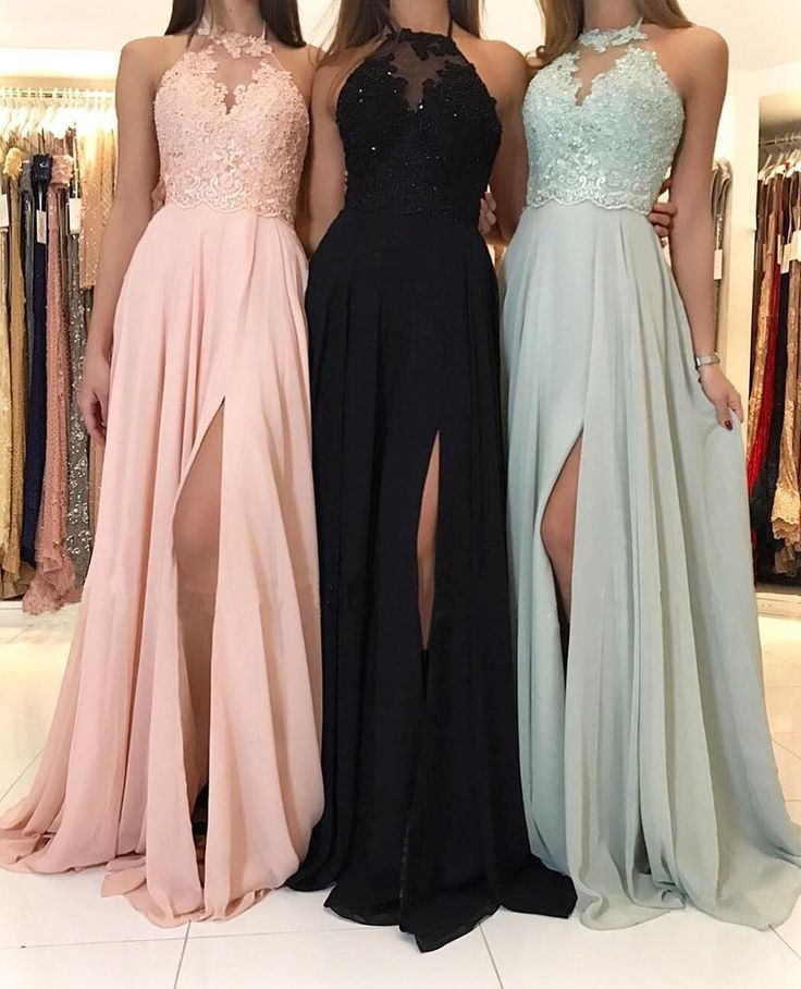 Charming Lace Halter Long Chiffon Split Bridesmaid Dresses