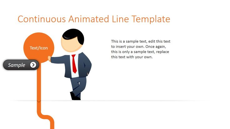Animated Orange Line PowerPoint Template is a presentation template with an awesome transition effect of continuous orange line and male cartoon character (Mike)