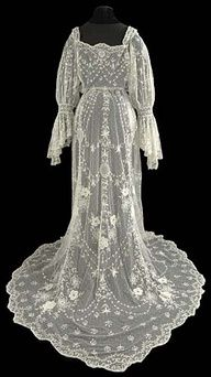 The Lace Guild, UK, Museum. Artefact of the Month picture for May 2010 - Tamboured wedding dress 1905–1910.