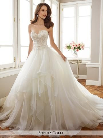 Awesome Sophia Tolli two-piece lightweight fantasy organza full A-line wedding gown