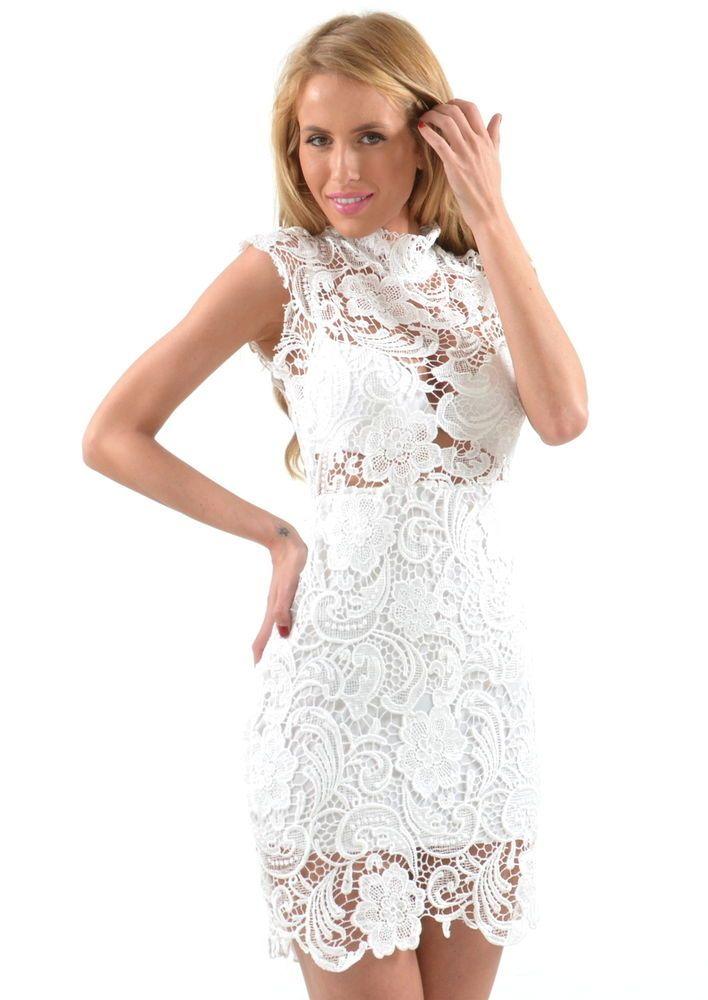 MISSY HOLLY: A TIFFANY WHITE LACE DRESS, Bachelorette dress SZ MEDIUM #MissHOLLY #Cocktail