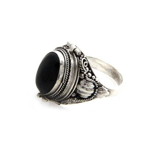 NOVICA Sterling Silver Ring with Onyx Top Compartment (€39) ❤ liked on Polyvore featuring jewelry, rings, black, locket, black gothic rings, black sterling silver ring, sterling silver locket ring, novica rings and gothic jewelry