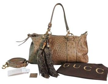 Gucci Sale New Nwt Limited Edition Ostritch Leather With Fur Detail Shoulder Bag $2,065