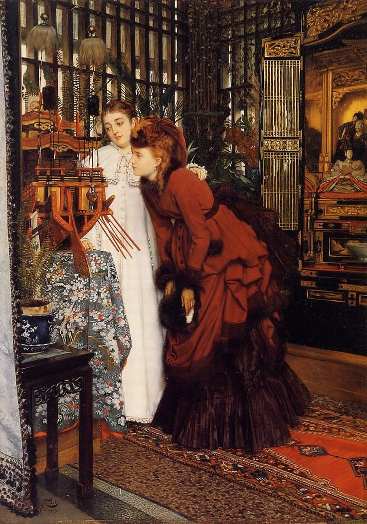 """James Tissot """"Young Women Looking  at Japanese Objects """""""