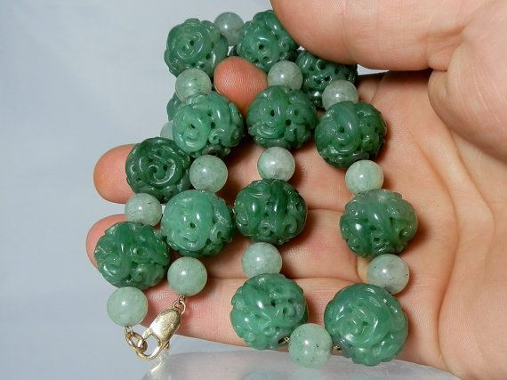 Rare carved jadeite jade bead necklace 14k yellow gold for Pictures of jade jewelry