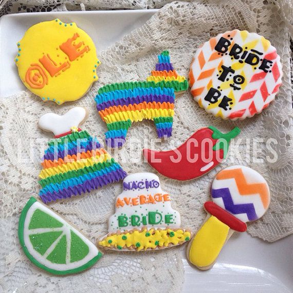 Mexican/Fiesta Themed Bridal Shower Cookies - 1 dozen on Etsy, $40.00