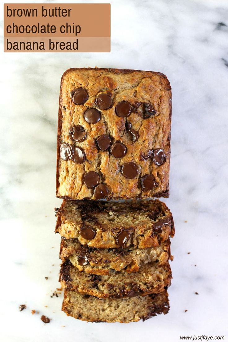 Brown Butter Chocolate Chip Banana Bread. It's just the best. | www.justjfaye.com #recipe #bananabread
