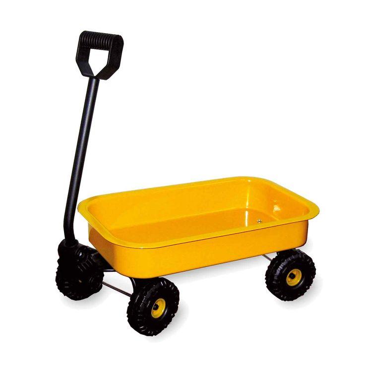 Een blikken handwagen die super geschikt is voor het spelen en het transporteren van de meest uiteenlopende dingen. Dankzij de wielen van kunststof krijg je nooit een lekke band.