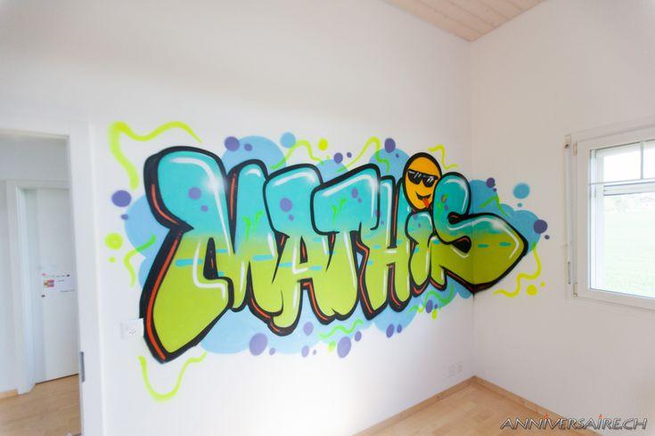 chambre d co graffiti pr nom en graff et trompe l 39 oeil au spray d coration de la chambre par. Black Bedroom Furniture Sets. Home Design Ideas