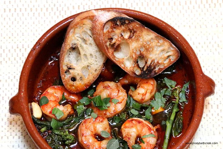 Garlic Shrimp with 'Nduja and Broccoli Rabe makes a fabulous antipasto or light meal. Spicy olive oil sauce naps juicy Black Tiger Shrimp and slightly bitter greens. Serve with grilled bread. https://marybethclark.com/?recipe=garlic-shrimp-nduja-broccoli-rabe #shrimp #seafood #italy #italian #easyrecipes #broccoli #nduja #travel #chefmode #cook #restaurants #healthy