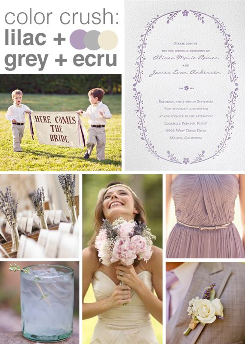 Invitations by Dawn suggests lilac, gray, and ecru for unique wedding colors.