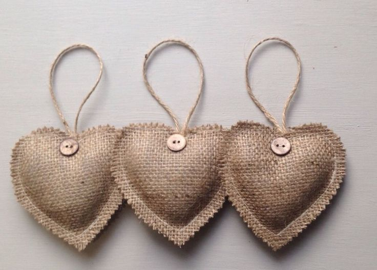 Rustic Set Of 3 Hanging Love Hearts - Decorations - Burlap/Hessian | eBay