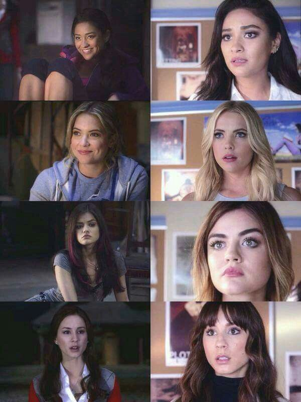 Emily, Hanna, Aria, and Spencer 1st episode on left 5 year time jump on right. #pll