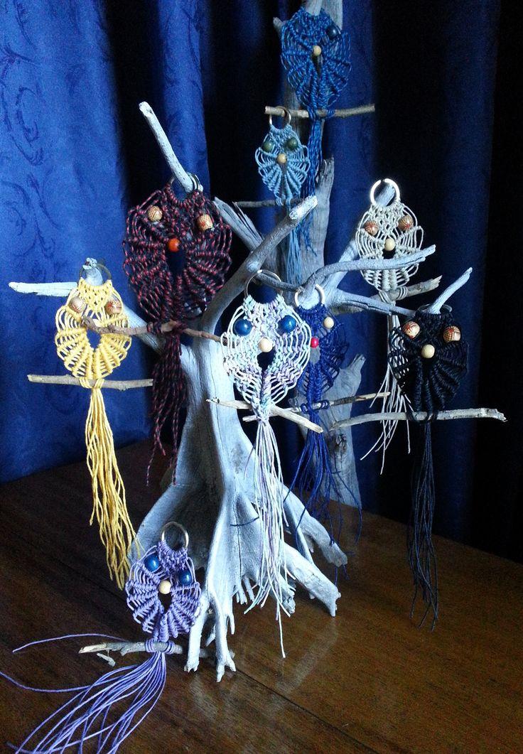 9 Owls in colours - hemp string between 10cm - 20cm long - $9 each - rusticblue9@gmail.com