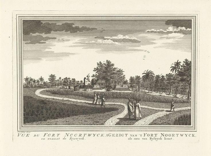 Jacob van der Schley   Gezicht op fort Noordwijk, Jacob van der Schley, Pieter de Hondt, 1747 - 1779   Gezicht op fort Noordwijk (in Jakarta) temidden van een tropisch landschap met op de voorgrond akkers en paden waar mensen lopen. Van het fort zijn stenen muren, gebouwen en een klokkenstoel zichtbaar.