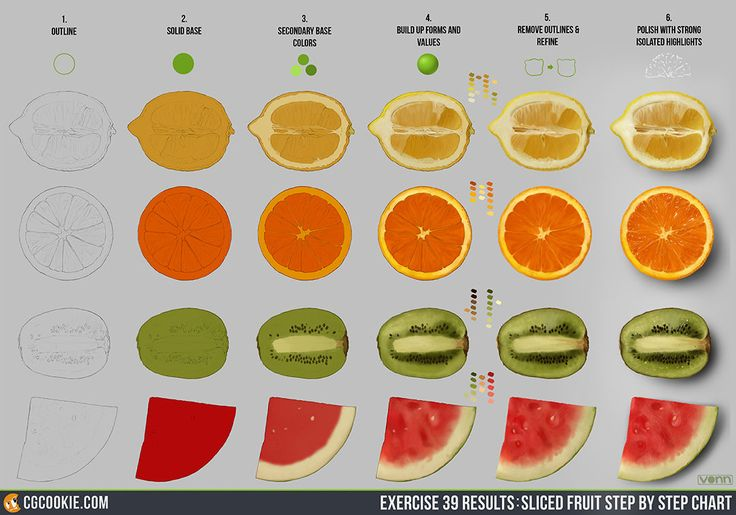 Exercise 39 Results: Sliced Fruit Step by Step Chart by CG Cookie @ DrawCrowd