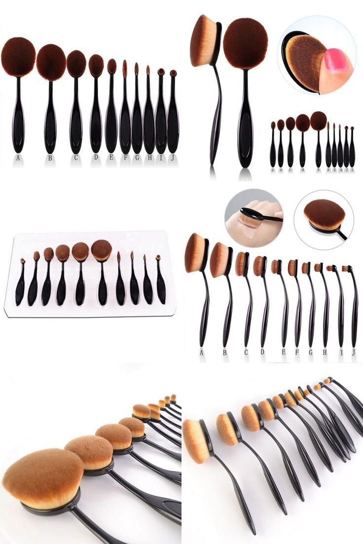 [Visit to Buy] 10pcs Pro Toothbrush Makeup Brush Oval Brush Set Multipurpose Makeup Brushes Set Super Nice Toothbrush Makeup Brush  #Advertisement