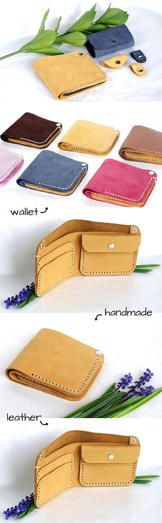 Leather yellow wallet Thin wallet Wallet for women Wallet for her Leather…