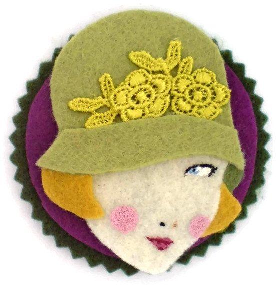 Reserved for Gina - Felt applique, patch, magnet, embellishment, pea, violet, gold