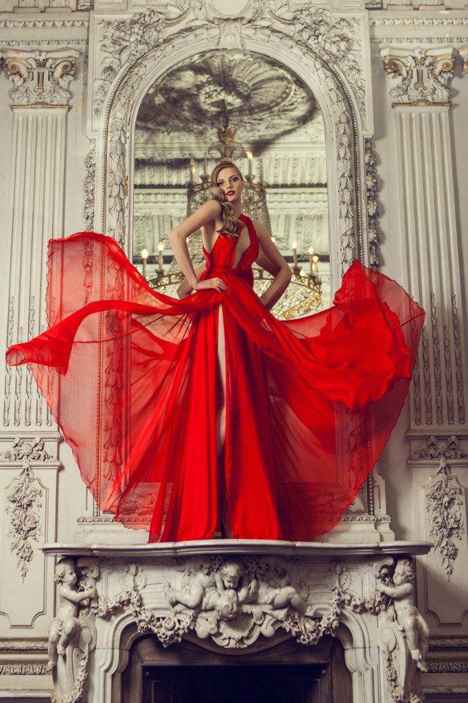 Baroc classic style fashion shoot flowing red dress
