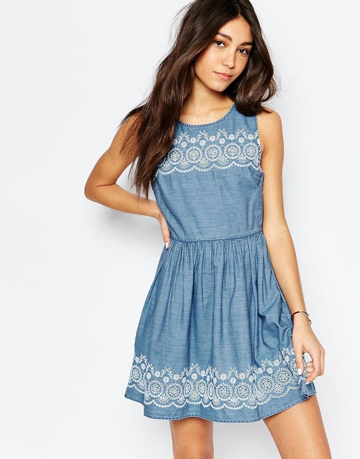 Image 1 of Jack Wills Chambray Dress With Embroidered Hem