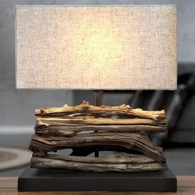tischlampe cumana beige aus treibholz handgefertigt 40cm. Black Bedroom Furniture Sets. Home Design Ideas