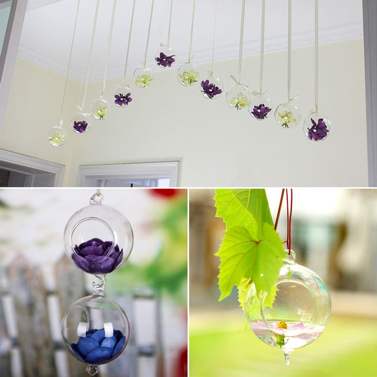 Creative Hydroponics Hanging Stand Glass Flower Vase With Hook Candle Holder Terrarium Wedding Decoration