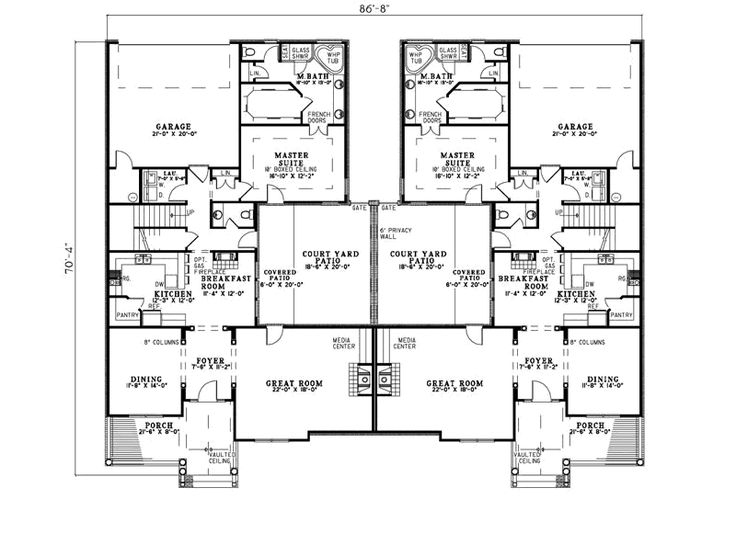 Multi family house plan first floor 055d 0865 beautiful for Single story multi family house plans