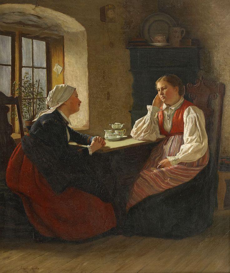 KULLE, Jakob (1838-1898): Interiör med samtalande kvinnor, signerad och daterad Jakob Kulle 1874, olja på duk, 52x44 cm