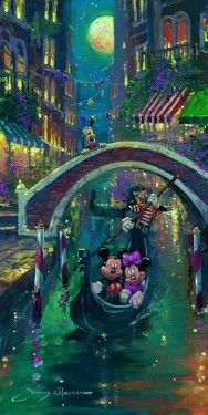 """*MICKEY & MINNIE ~ """"Moonlit in Venice"""" by James Coleman - Limited Edition of 195 on Hand-Embellished Canvas"""