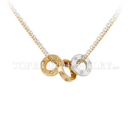 Replica Cartier Classic Drie 18K Gouden Ringen Op Een dubbele ketting Diamanten Ketting 1 : 1 Hoge kwaliteit Cartier Ketting