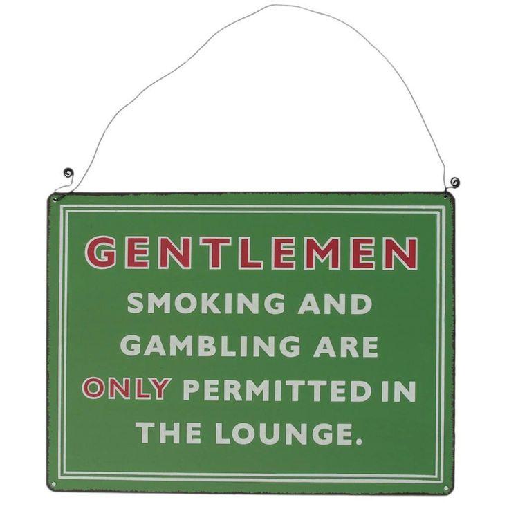 Metal Hanging Sign Gentlemen Smoking Lounge  #cool #mzube #quirky #santa #gift #sale #gifts #stocking #xmas #shopping   http://www.mzube.co.uk