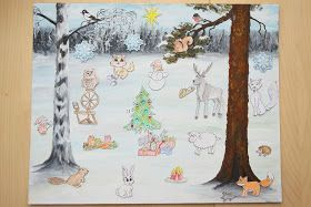 Meillä on ollut kahtena peräkkäisenä vuonna tarina-joulukalenteri. Olen itse maalannut taustan ja keksinyt siihen kaksi eri tarinaa. Mietin...