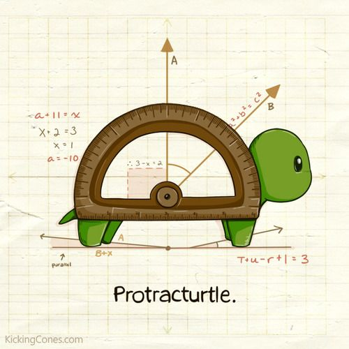 """kickingcones:    DreamBagProductions requested: """"[A turtle doing] math.""""  Protracturtle lives for math!"""