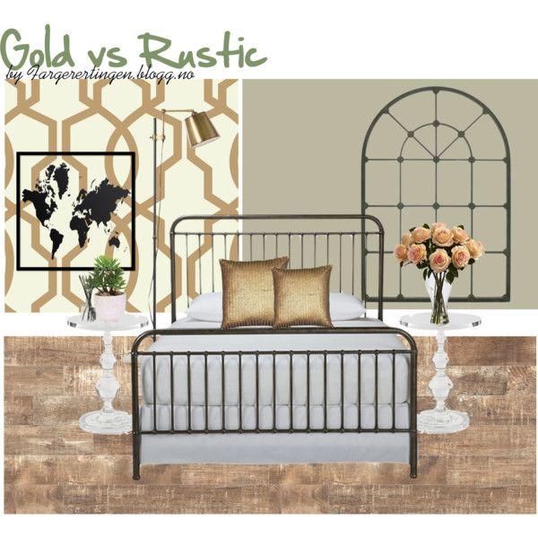 Gold vs Rustic by fargerertingen on Polyvore featuring interior, interiors, interior design, home, home decor, interior decorating, Ethan Allen, ferm LIVING, Voluspa and Lux-Art Silks