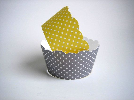 yellow and grey polka dot cupcake wrappers