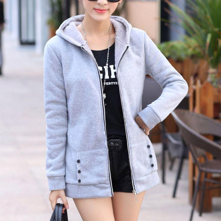 2017 New Fashion Women Spring Autumn Korean Wild Thick Velvet Hooded Coat Plus Size Casual Sweatshirt Women Top Q4609