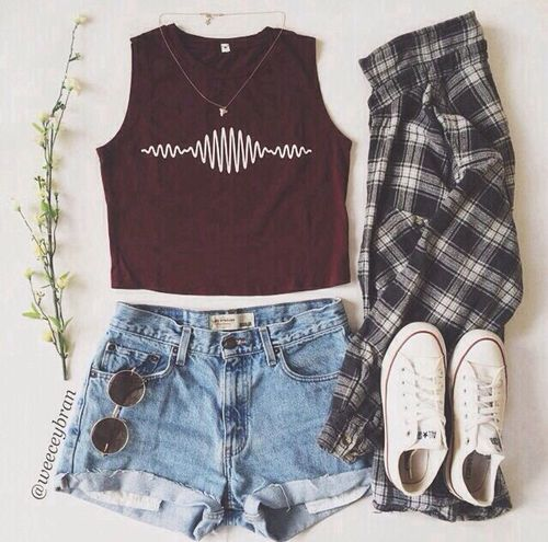 maroon Arctic Monkeys logo tank top + light washed high waisted jean shorts + black and white flannel + white low top converse