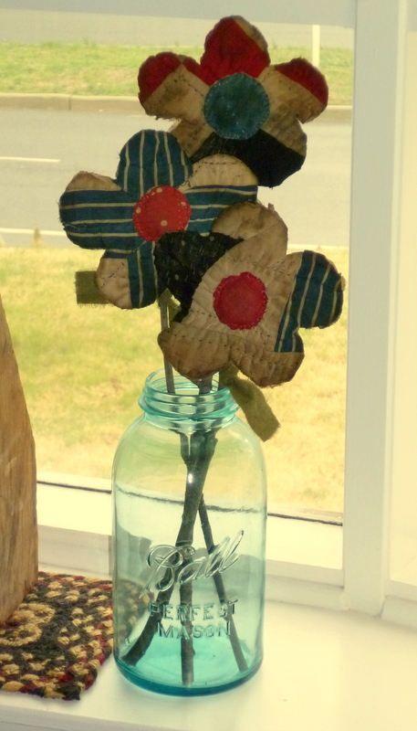 Set of 3 Primitive Quilt Flowers made from by FolkArtandPrimitives