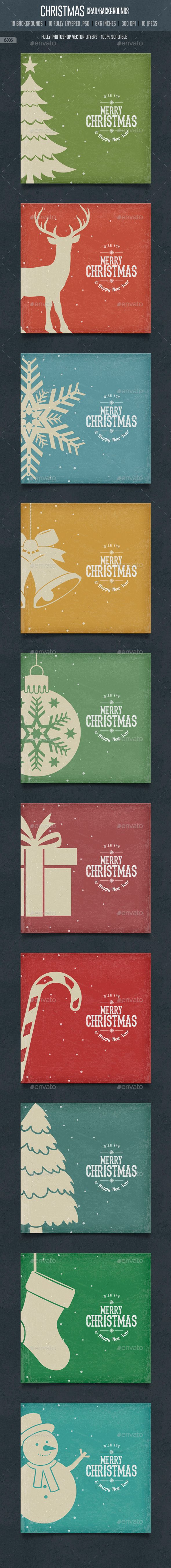 Vintage Christmas Square Cards / Backgrounds — Photoshop PSD #christmas gift #wall paper • Available here → https://graphicriver.net/item/vintage-christmas-square-cards-backgrounds/9602298?ref=pxcr