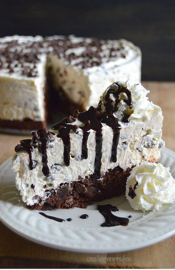 Decadent Brownie Chocolate Chip Cheesecake
