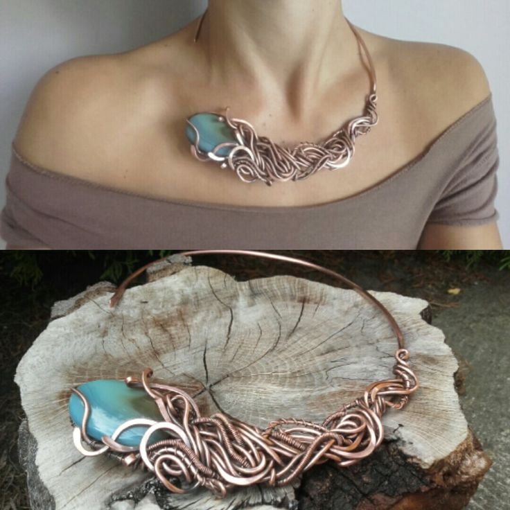 Weird copper wire wrapped necklace with natural Larimar,Wire jewelry,Copper jewelry,Wire wrapped jewelry,Woodland Jewelry,Wire necklace